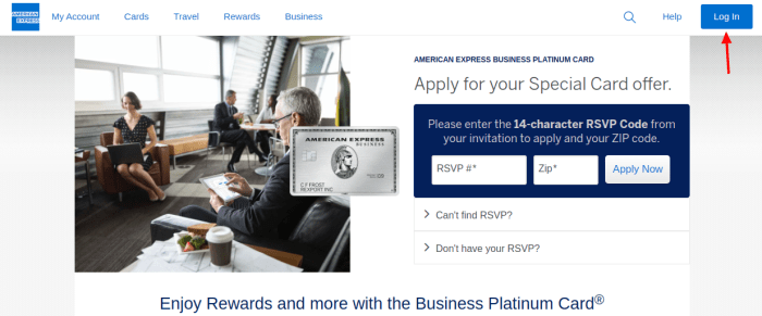 Business Platinum Card Login