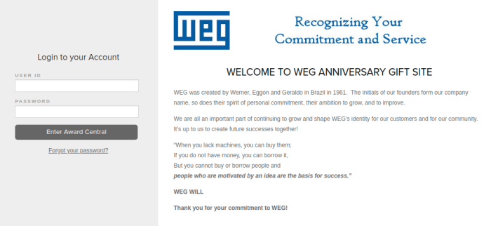 WEG Rewards Login