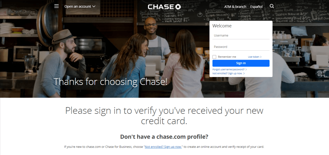 Activate Chase Card