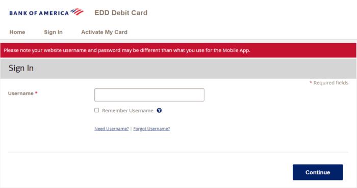 Bank of America EDD card login Credential