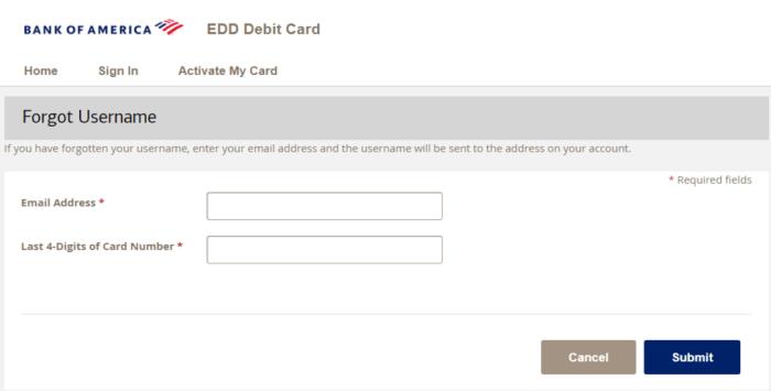 Bank of America EDD card login