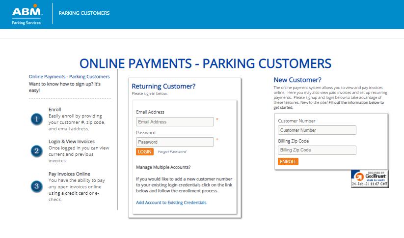 ABM parking portal