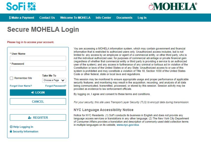 Sofi loan portal