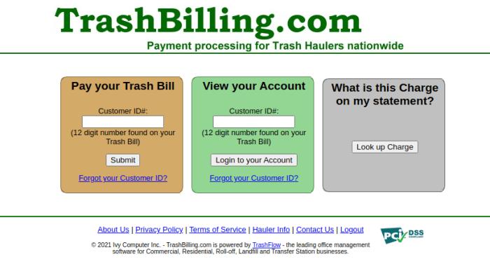trashbilling login
