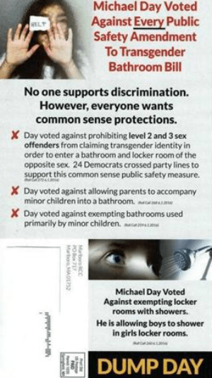 Michael Day; Anti-Transgender