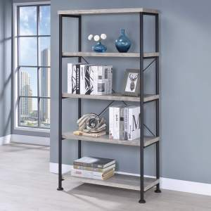 Industrial Wood & Laminate Metal Bookcase