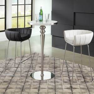 Scott Living Black Leather Bar Stool with Chromed Steel Base
