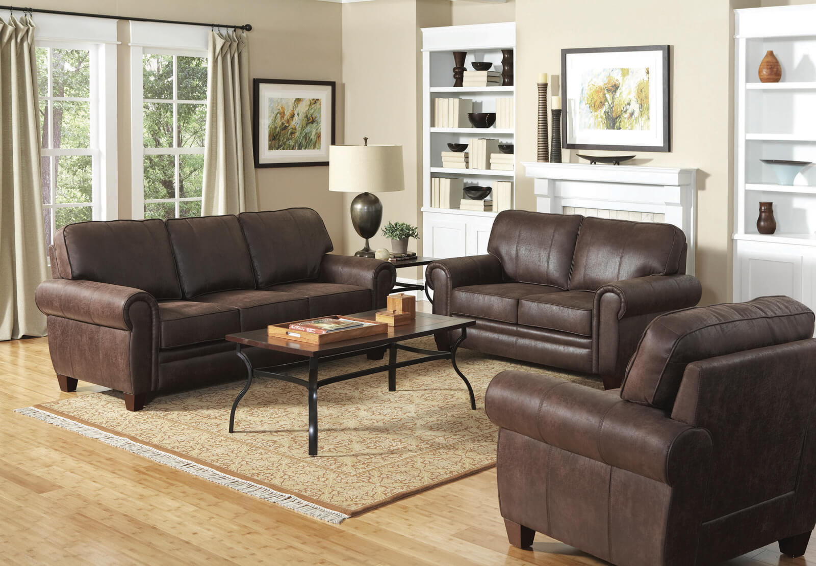 Traditional Brown Leather Sofa - HRC Furniture