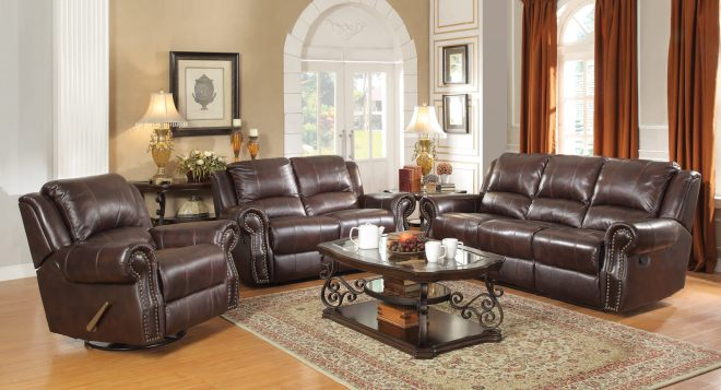 Interior Decorating Trends That Stay in Style - Burgandy Brown Motion Sofa