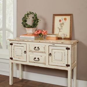 Natural Rustic White Accent Cabinet