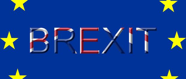 The flag of the EU with the word Brexit in the middle
