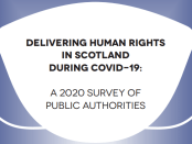 Outline of a face mask with words Deklivering Human Rights in Scotland during Covid 19, a 2020 Survey of Public Authorities