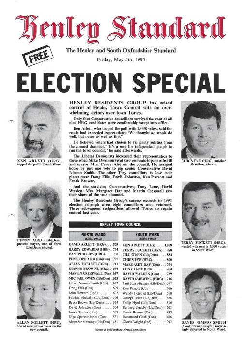 Ken Arlett tops HTC Election poll in 1995