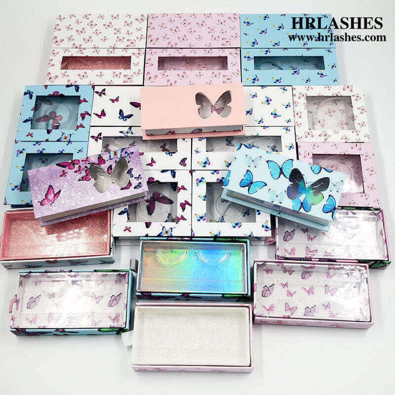 Butterfly drawer Cardboard eyelash box With Window and crystal handle