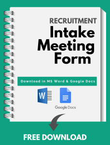 Recruitment Intake Meeting Template - Free Download