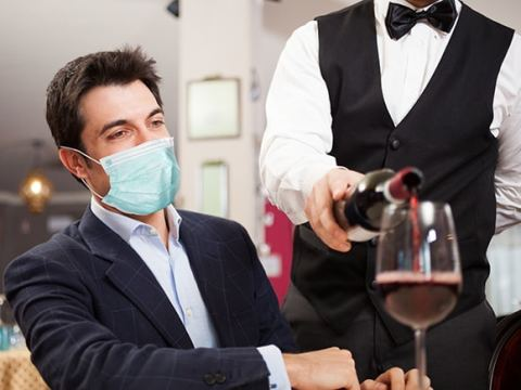 Restaurant patrons will be asked to wear a face covering when not eating or drinking.