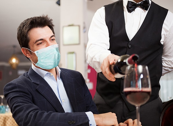 dine-in eating. Restaurant patrons will be asked to wear a face covering when not eating or drinking.