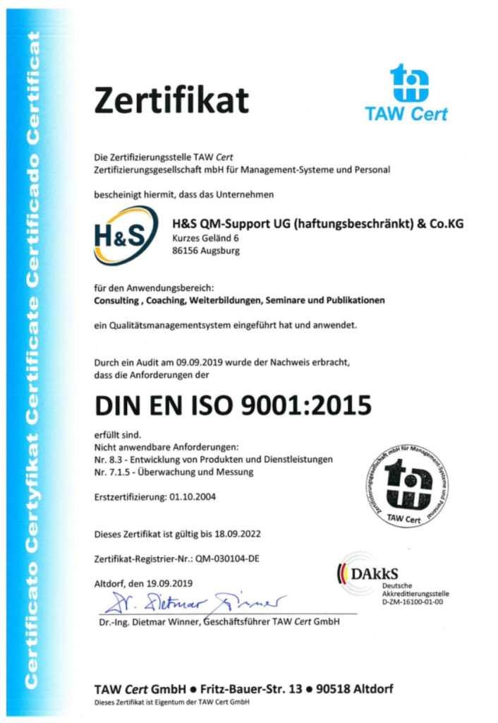 H&S ISO 9001 Zertifizierung