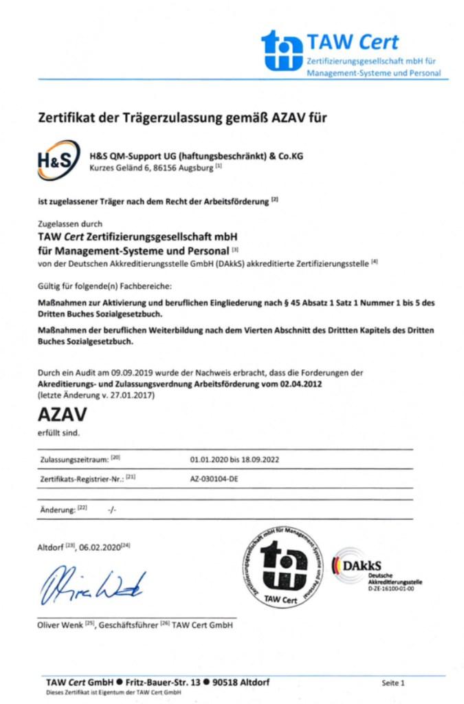 H&S AZAV Trägerzulassung