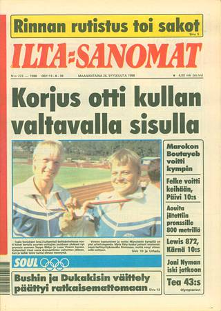 On Monday, September 26, 1988, Ilta-Sanomat reported on Korjus' fate.  He threw himself as an Olympic champion, even though his approximator muscle had torn.  Oliver Helander now has a similar disability.