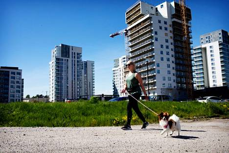 Jasmi Lehtinen and a Pihla dog jogging in Perkka.  Lehtinen lives in a 1970s apartment building, surrounded by new and high-rise residential buildings.