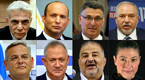 Leaders of eight parties in the governing coalition proposed for Israel, from top left clockwise: Jair Lapid (center-right Jesh Atid), Naftali Bennett (right-wing Jamina), Gideon Sa'ar (right-wing New Hope), Avigdor Lieberman (right-wing Israel Beitenu), Merav Michaöv (Social Democrat) , Mansur Abbas (Arab-Islamic Ra'am), Benny Gantz (Central Blue and White), Nitzan Horowitz (Social Democratic Meretz).