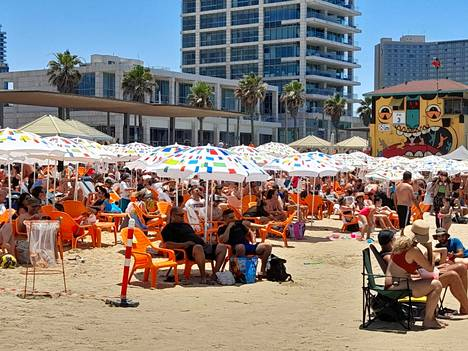 Banana Beach in Tel Aviv was packed to the brim on Saturday.