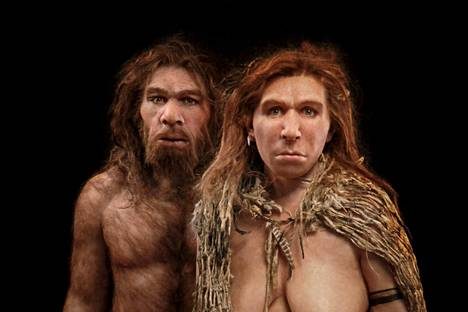 Neanderthals.  The images are based on fossils of Neanderthal humans living in central France.