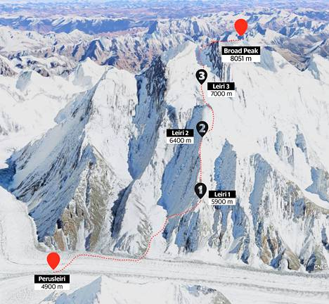 The height difference between the base camp and the first camp is about a thousand meters.