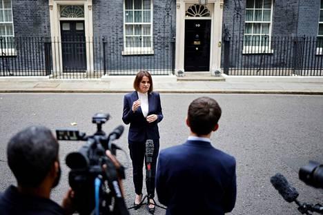 Belarusian opposition politician Svyatlana Tsihanouskaya spoke to the media on Tuesday in London after meeting with British Prime Minister Boris Johnson.