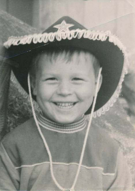"""Kimmo Helistö's first beloved headdress was a fine sheriff's hat, which he received in June 1966 as a five-year gift.  However, the joy ended short. """"During the summer vacation trip, I started vomiting in the car and my mother pushed the hat in front of my mouth with her emergency head.  There it stayed, somewhere along the way."""""""