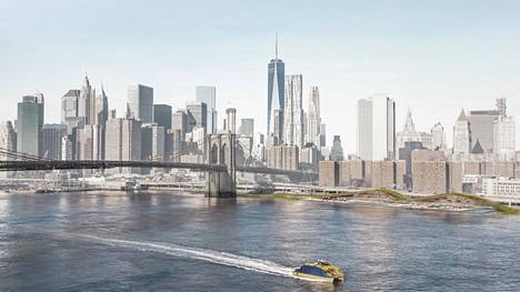 An illustration of a Pool project planned for New York.  When completed, the project would be right next to the Brooklyn Bridge.