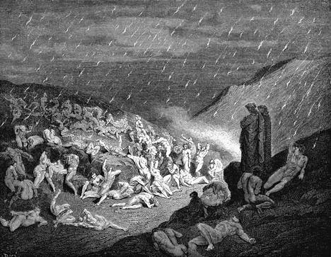 Illustration by Gustavo Dore from 1863 of the first part of the Divine Play about Inferno.