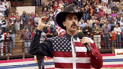 The character Borat sang the American National Anthem in the 2006 comedy and got the audience to boom.