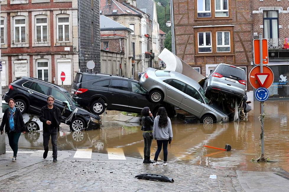 Cars had piled up at a roundabout in Verviers, Belgium on Thursday.