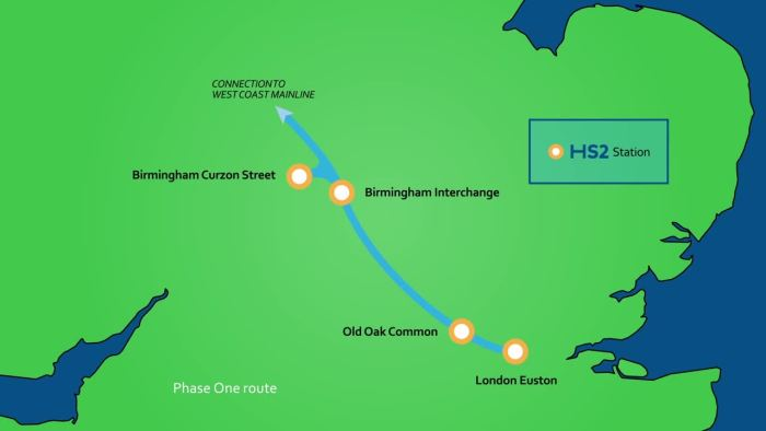 Map of HS2 route