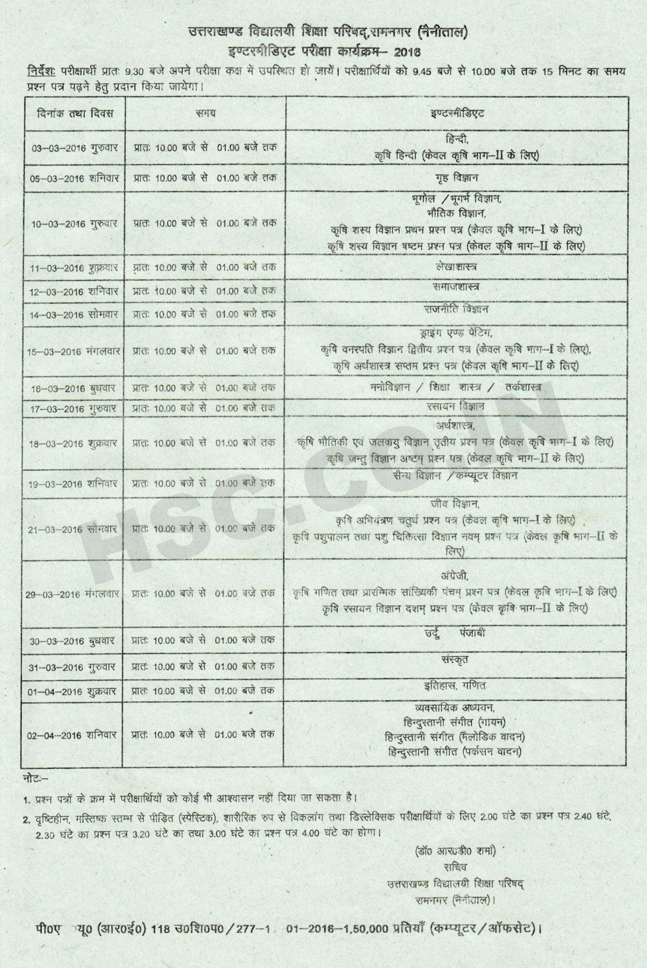Uttarakhand Broad For Intermediate Ubse Hsc Board Date Sheet Examination Hsc Higher