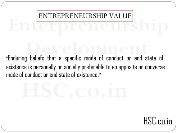 ENTREPRENEURSHIP VALUE