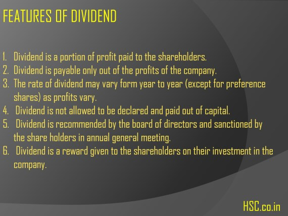 Features of dividend