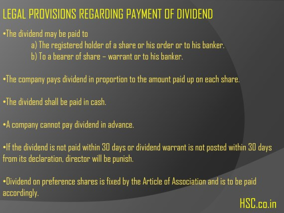 legal provision payment of dividend
