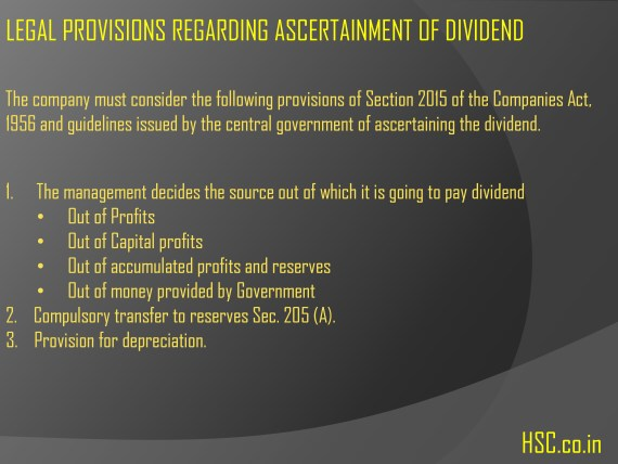 legal provisions ascertainment of dividend