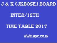 JKBOSE 12th Date sheet 2017