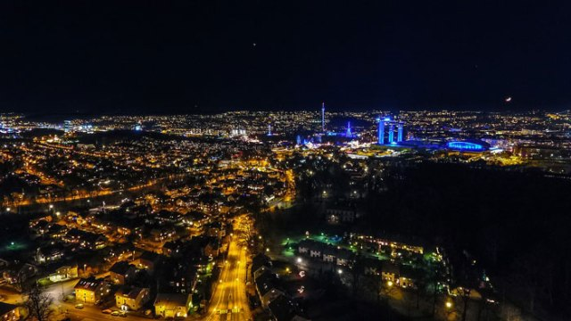 City landscape taken by aerial photography drone flying at night