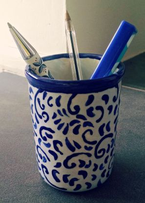 painted pen pot on hshandcrafts