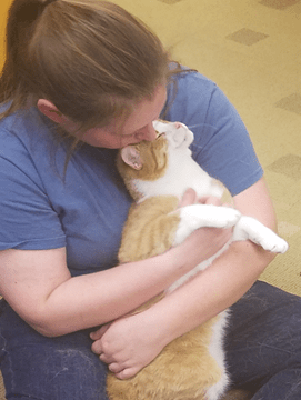HSHV Staff member kissing and snuggling Finn the cat