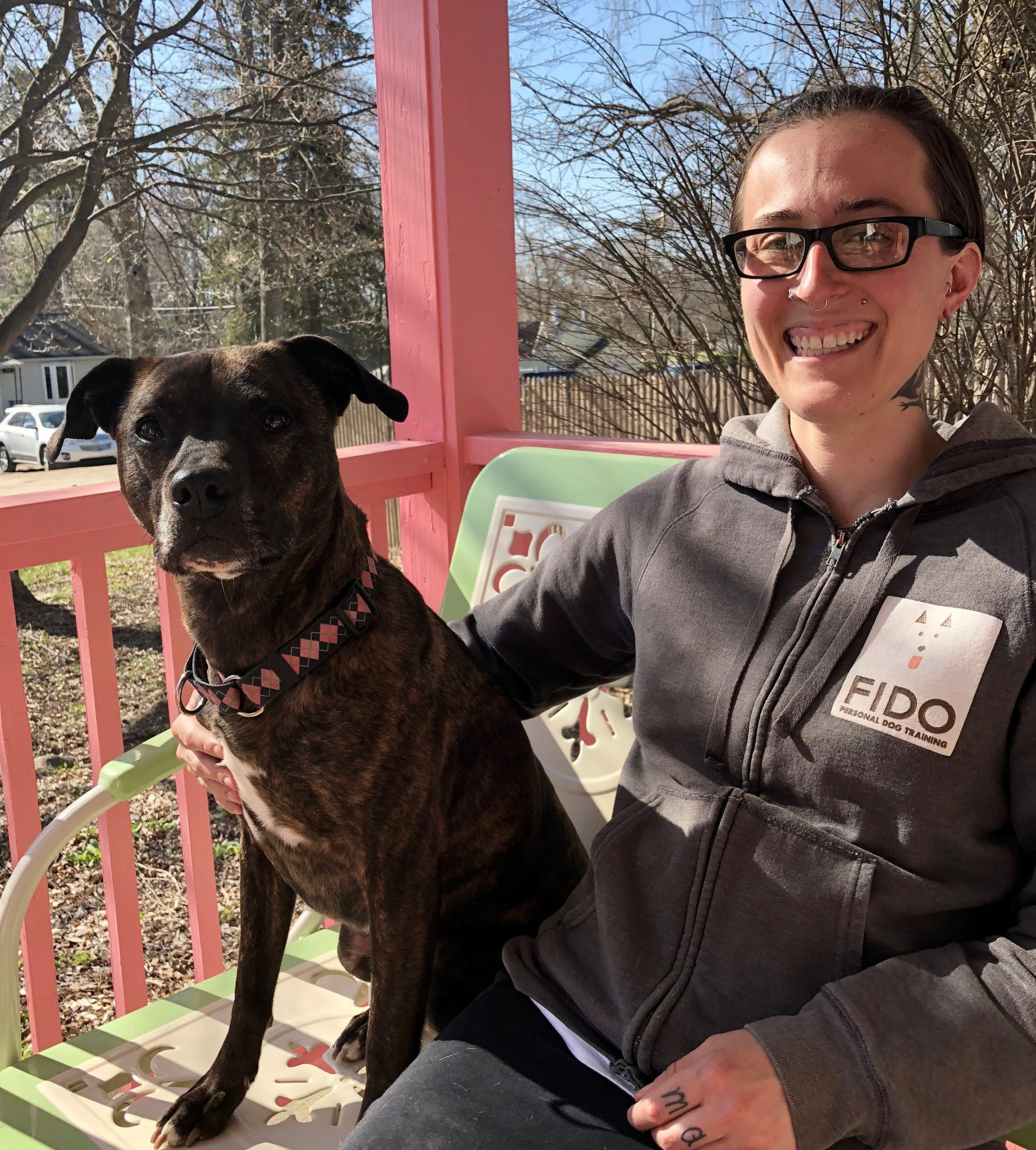 Jane Wolff, dog trainer with her dog