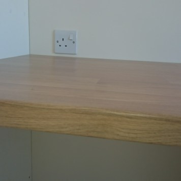 Solid wooden shelves.