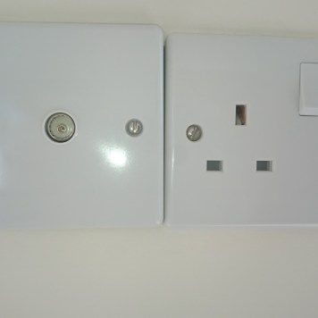 Standard uk plug sockets and TV aerial socket.