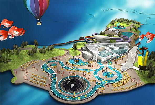 Det nye badelandet i Kristiansand dyrepark. Illustrasjon: GRID Design
