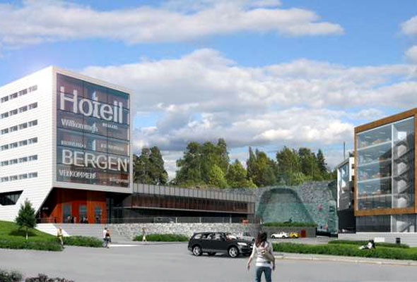 First Hotel Flesland i Bergen. Illustrasjon: Halvorsen & Reine Siv.Ark AS